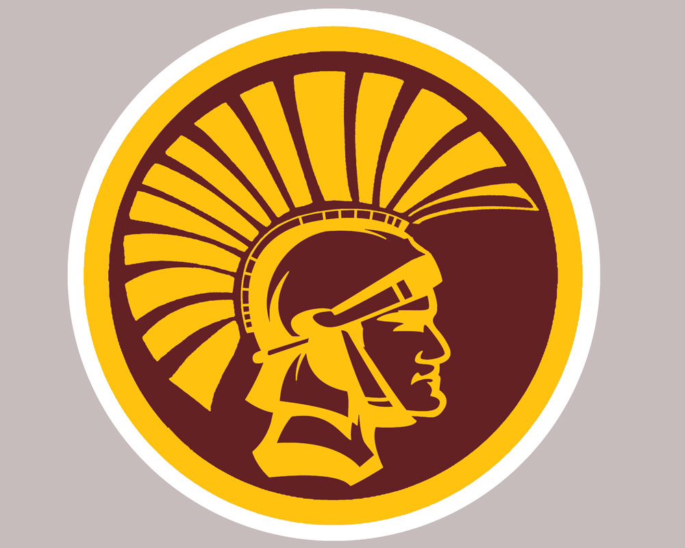 trojan head with gold and white rings