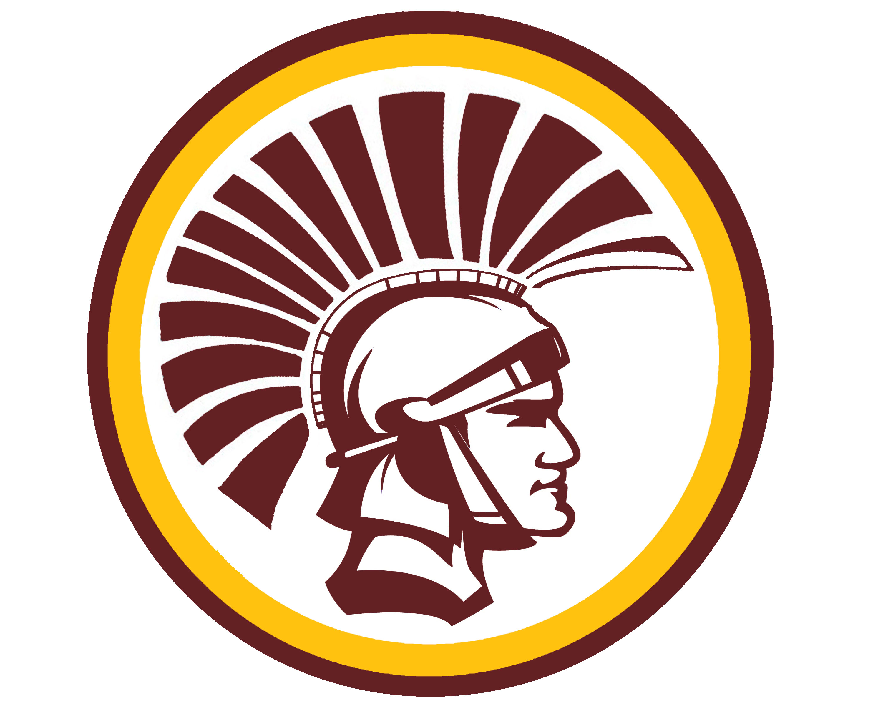 trojan head with burgundy and gold ring