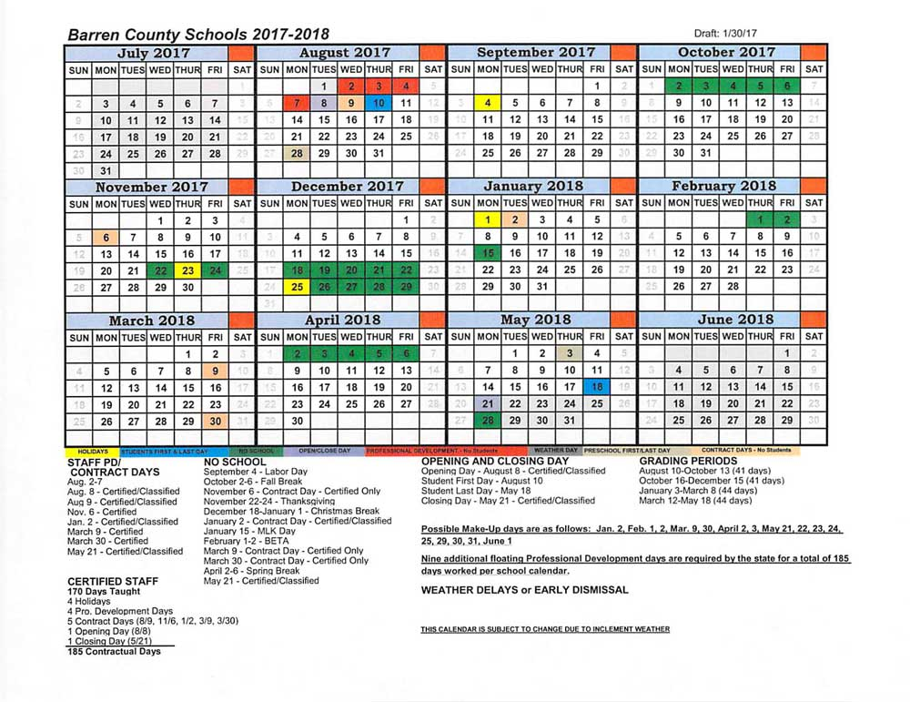 District Calendar  Barren County School District