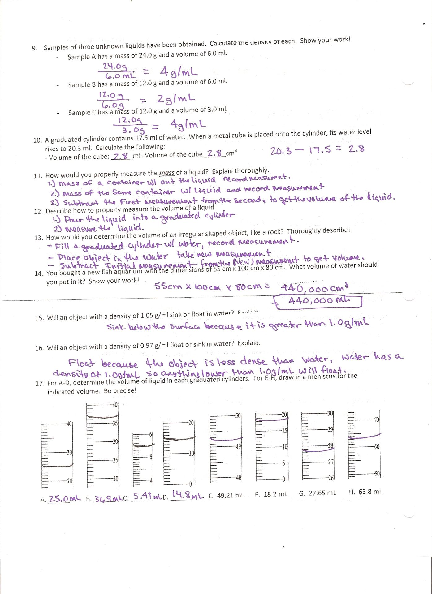 Density Practice Problem Worksheet – Density Worksheet Answers